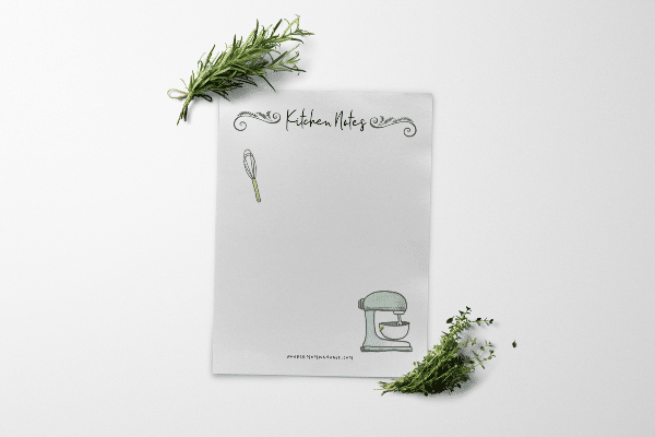 free printable kitchen notes on a white background with greenery near it