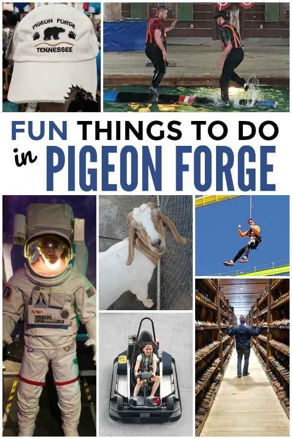 a collage of activities with title text reading Fun Things to do in Pigeon Forge