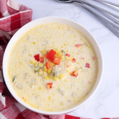 close up of Instant Pot Corn Chowder in white bowl