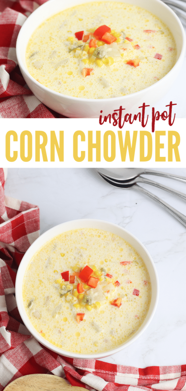 a collage of bowls of corn chowder with corn kernels and chopped red bell pepper garnish and spoons in background