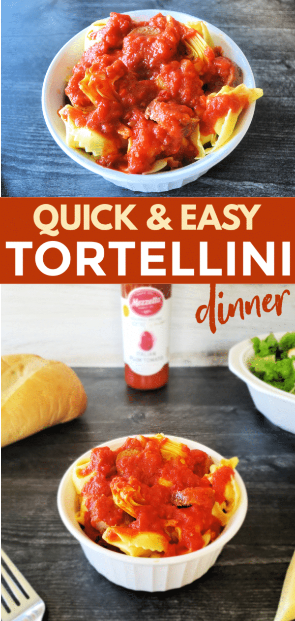 This easy tortellini dinner comes together in 20 minutes, is a family favorite, and is made with ingredients you can always keep on hand! #tortellini #dinnerrecipe #easydinnerrecipe via @wondermomwannab