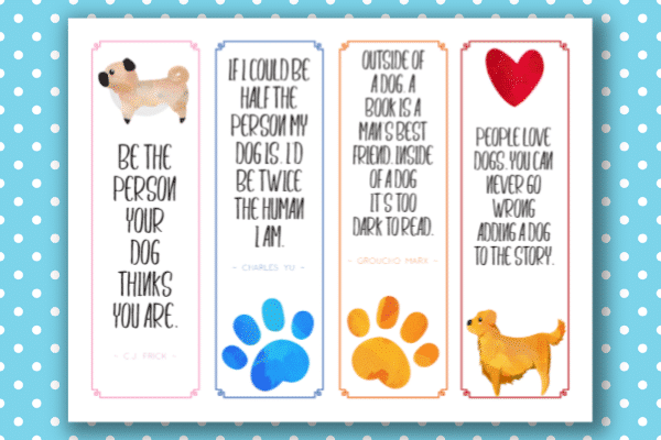 printable bookmarks for kids on a blue and white polka dot background