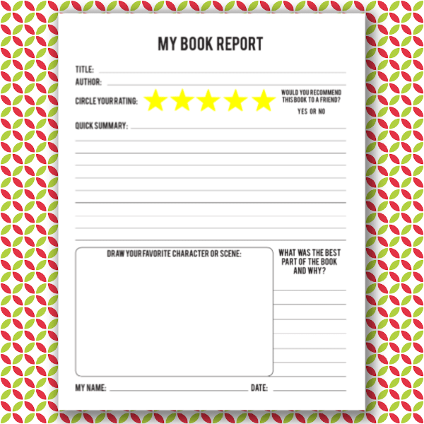 printable book report for kids on a red, white and green background