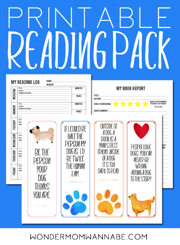 printable reading kit for kids on a blue background with title text reading Printable Reading Pack