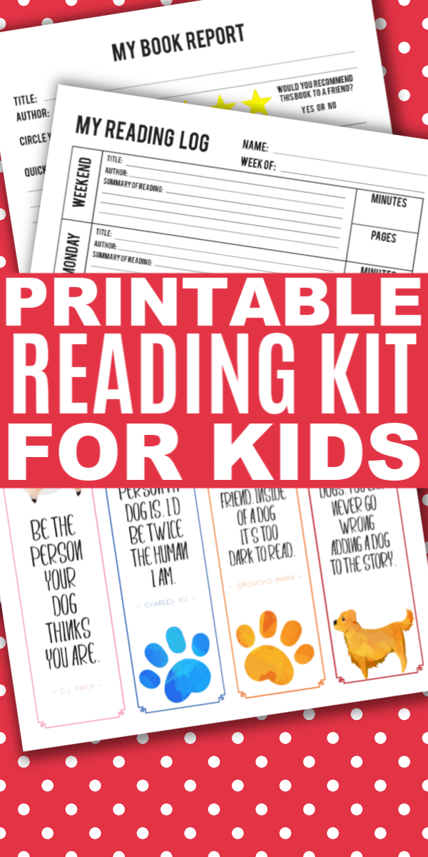 printables for kids with title text reading Printable Reading Kit for Kids