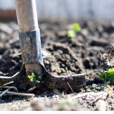 shovel digging up dirt in garden
