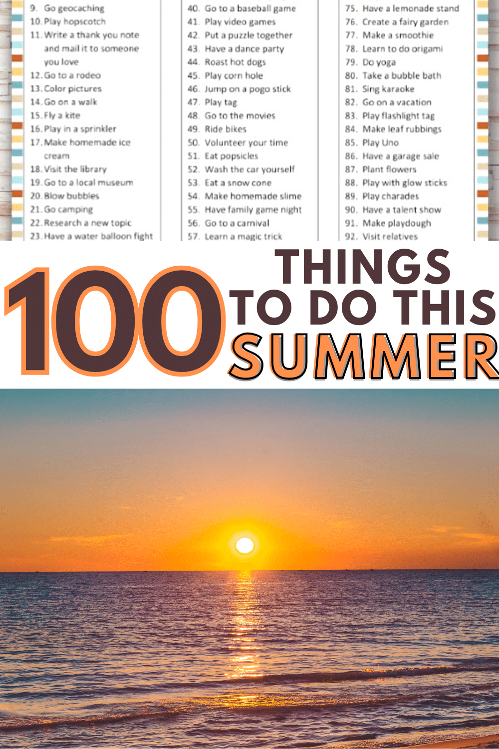 This printable 100 Things To Do This Summer List is a great way to stop boredom during summer months. This huge list of fun activities will keep you busy. #printable #summer #summerfun via @wondermomwannab