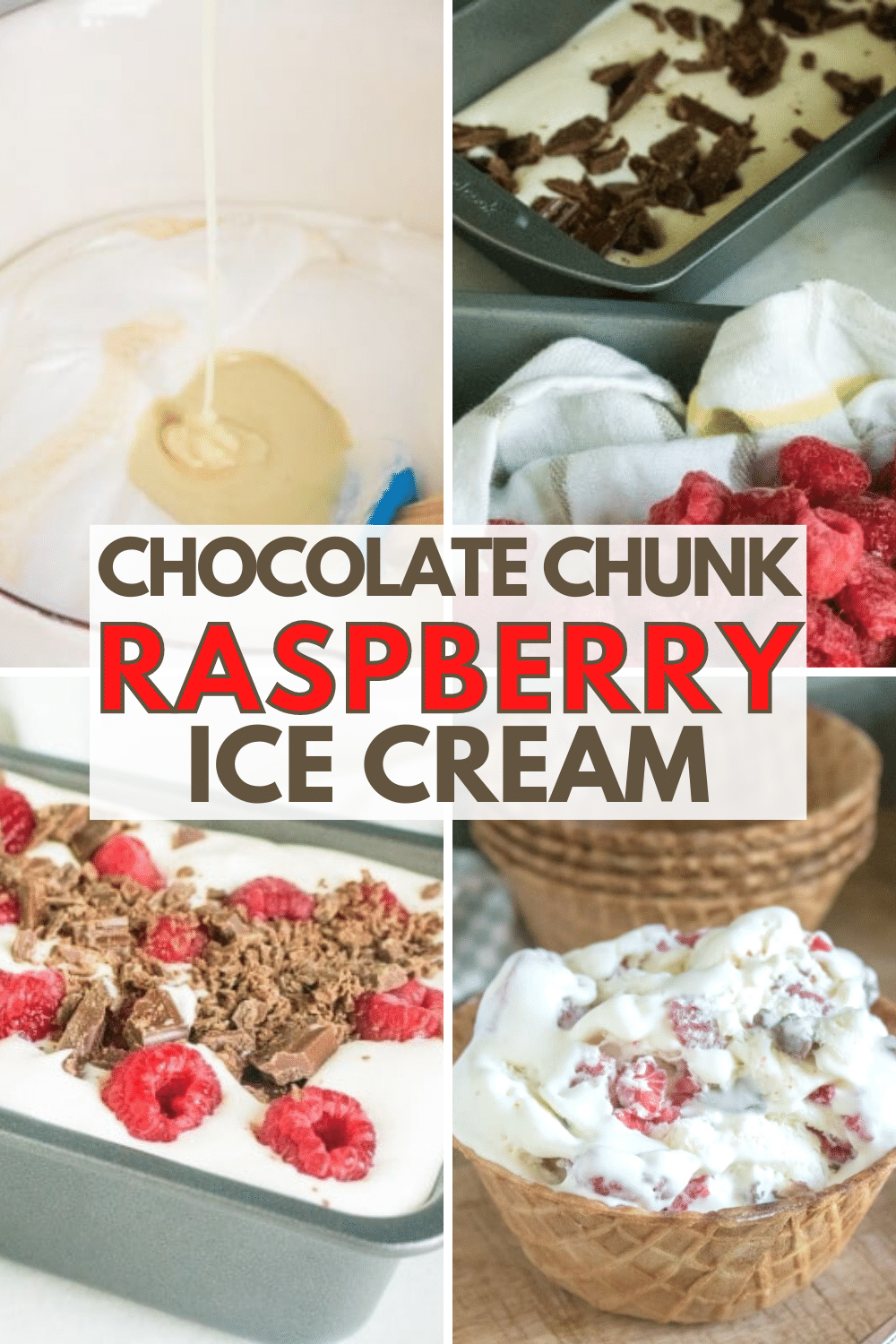 This easy homemade chocolate chunk raspberry ice cream recipe is so delicious. This is a great sweetened condensed ice cream recipe! #icecream #nochurn #chocolate via @wondermomwannab
