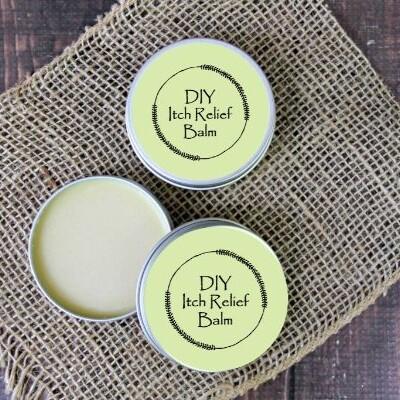 essential oil itch relief cream on burlap
