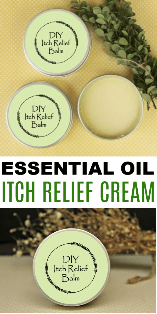 a collage of DIY Itch Relief Balm with title text reading Essential Oil Itch Relief Cream