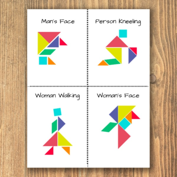 printable tangram people, a man's face, person kneeling, woman walking, woman's face