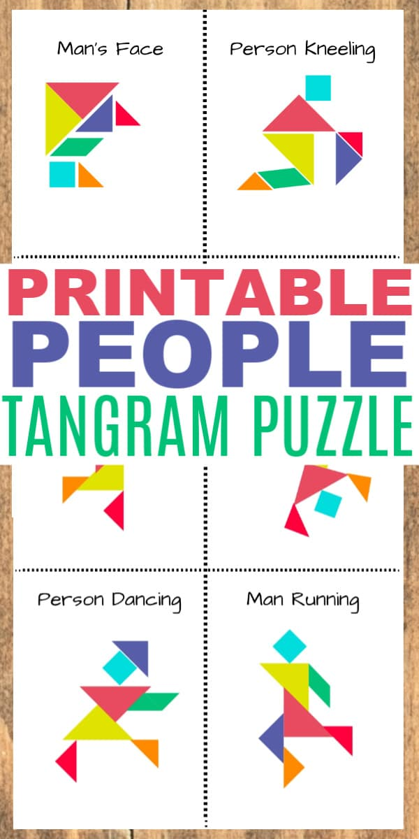 printable tangram people with title text reading Printable People Tangram Puzzle