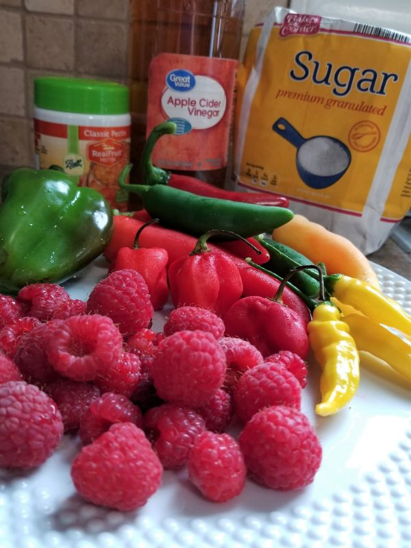 raspberries,and peppers on a white plate, pectin, apple cider vinegar, and sugar behind