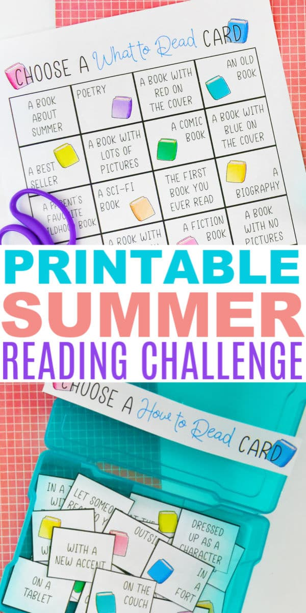 a collage of the printable summer reading challenge with title text reading Printable Summer Reading Challenge