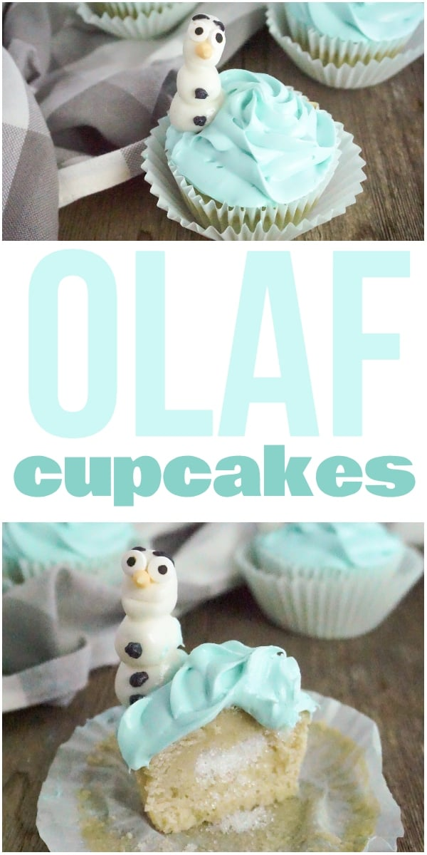 photo collage of Disney's FROZEN Cupcakes on a wood table with a grey and white linen with text which reads Olaf Cupcakes