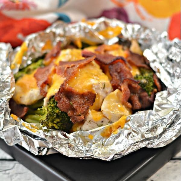 chicken bacon ranch foil packet on a baking sheet