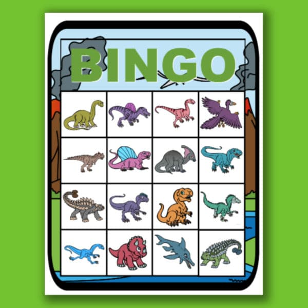 printable dinosaur bingo on a green background