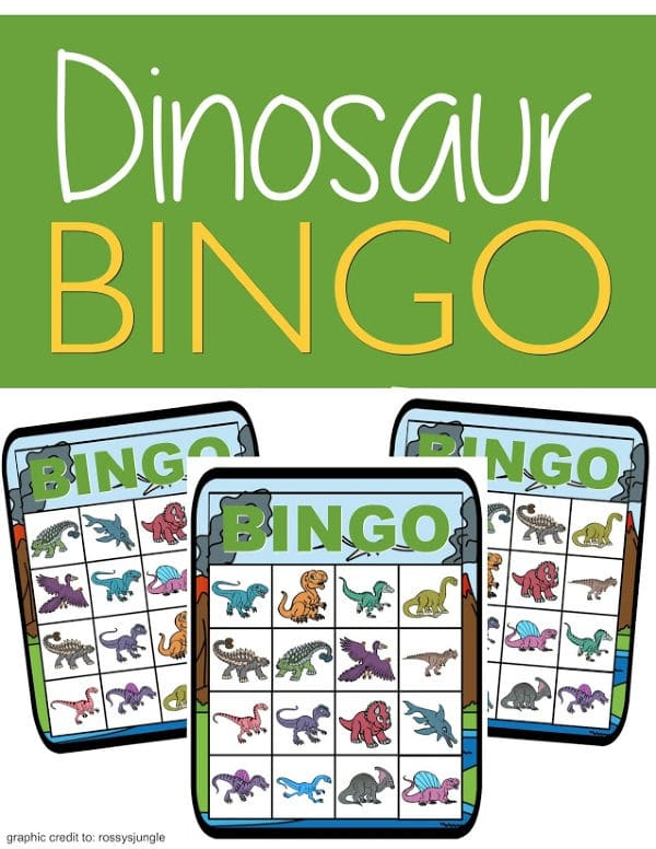 printable dinosaur bingo with title text reading Dinosaur Bingo