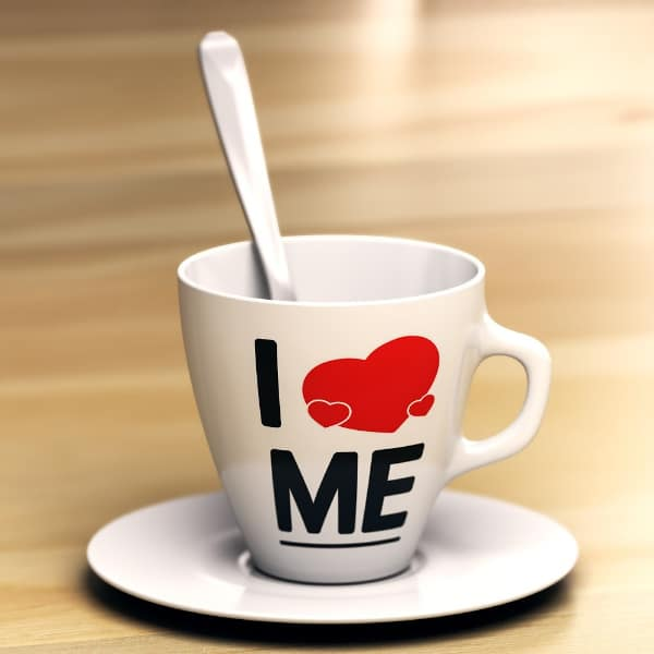 I love me coffee mug with spoon