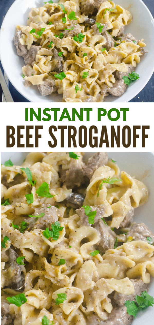a collage of beef stroganoff with title text reading Instant Pot Beef Stroganoff
