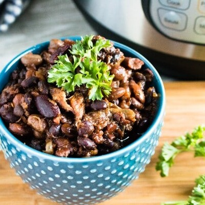 Instant Pot Pork and Beans with cilantro
