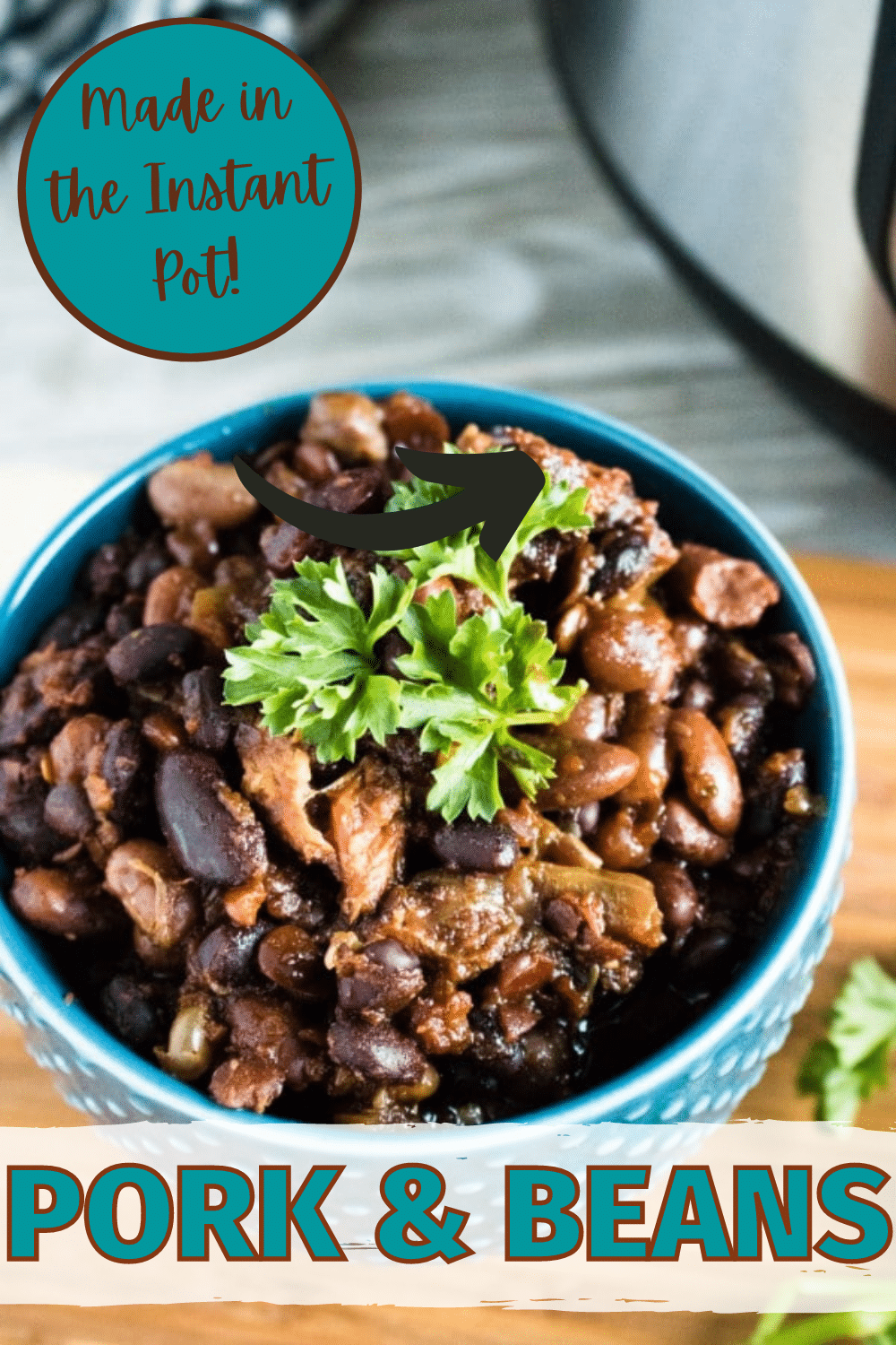 These Instant Pot Pork and Beans are a hearty, delicious meal and also work well as a side dish for a potluck. #porkrecipes #instantpot #wondermomwannabe via @wondermomwannab