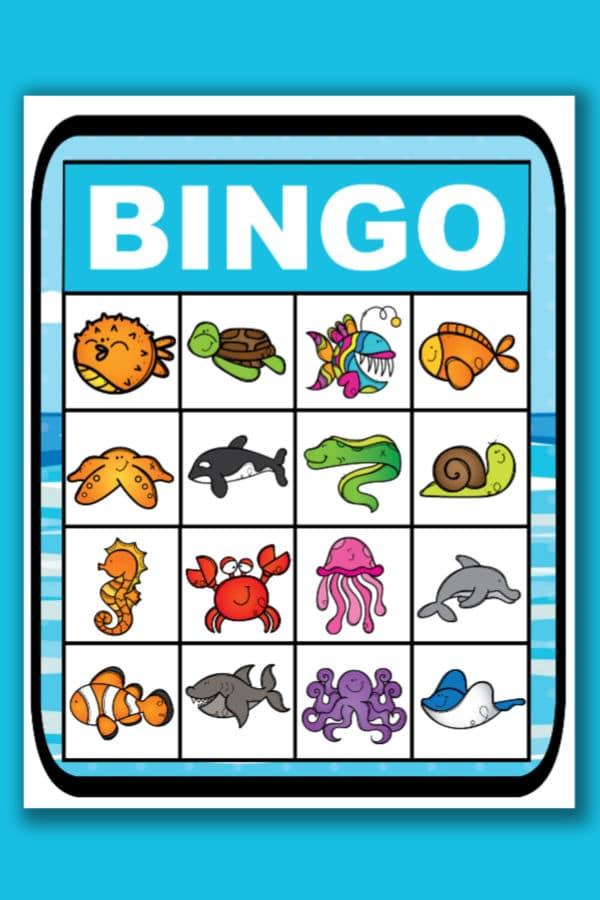 printable ocean bingo in a blue background