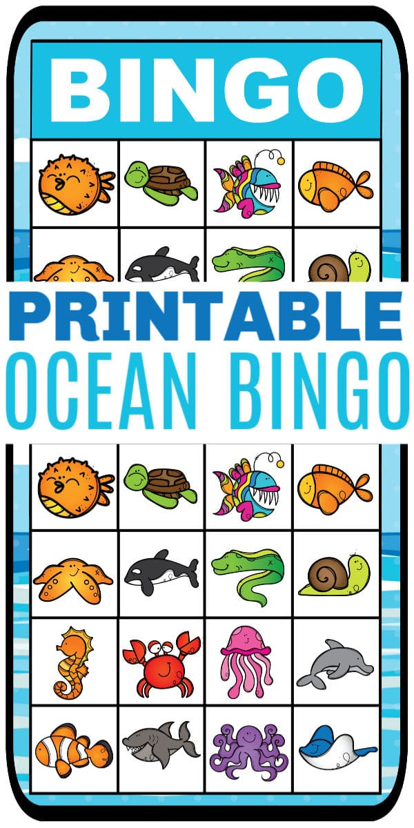 printable ocean bingo with title text reading Printable Ocean Bingo