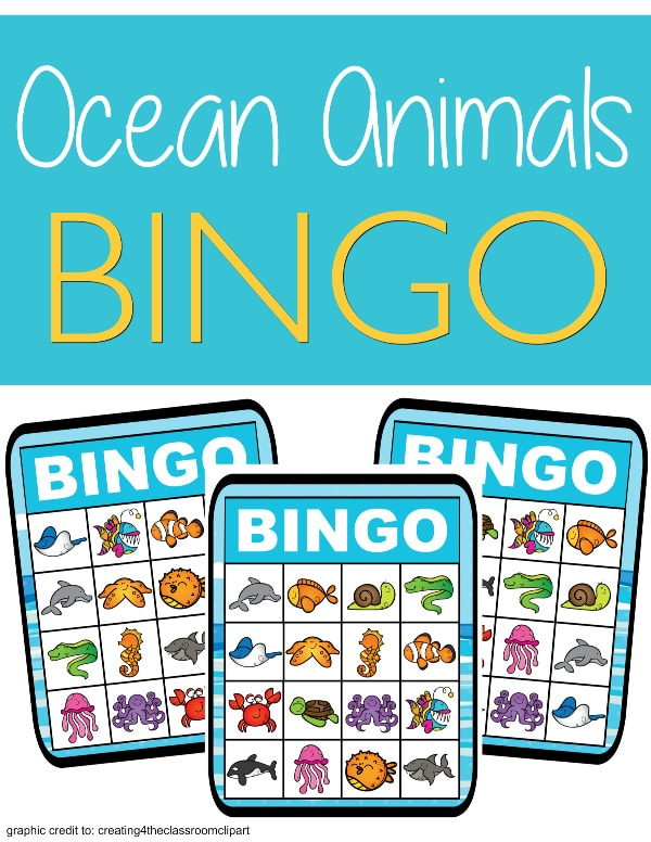 printable ocean bingo on a white background with title text reading Ocean Animals Bingo