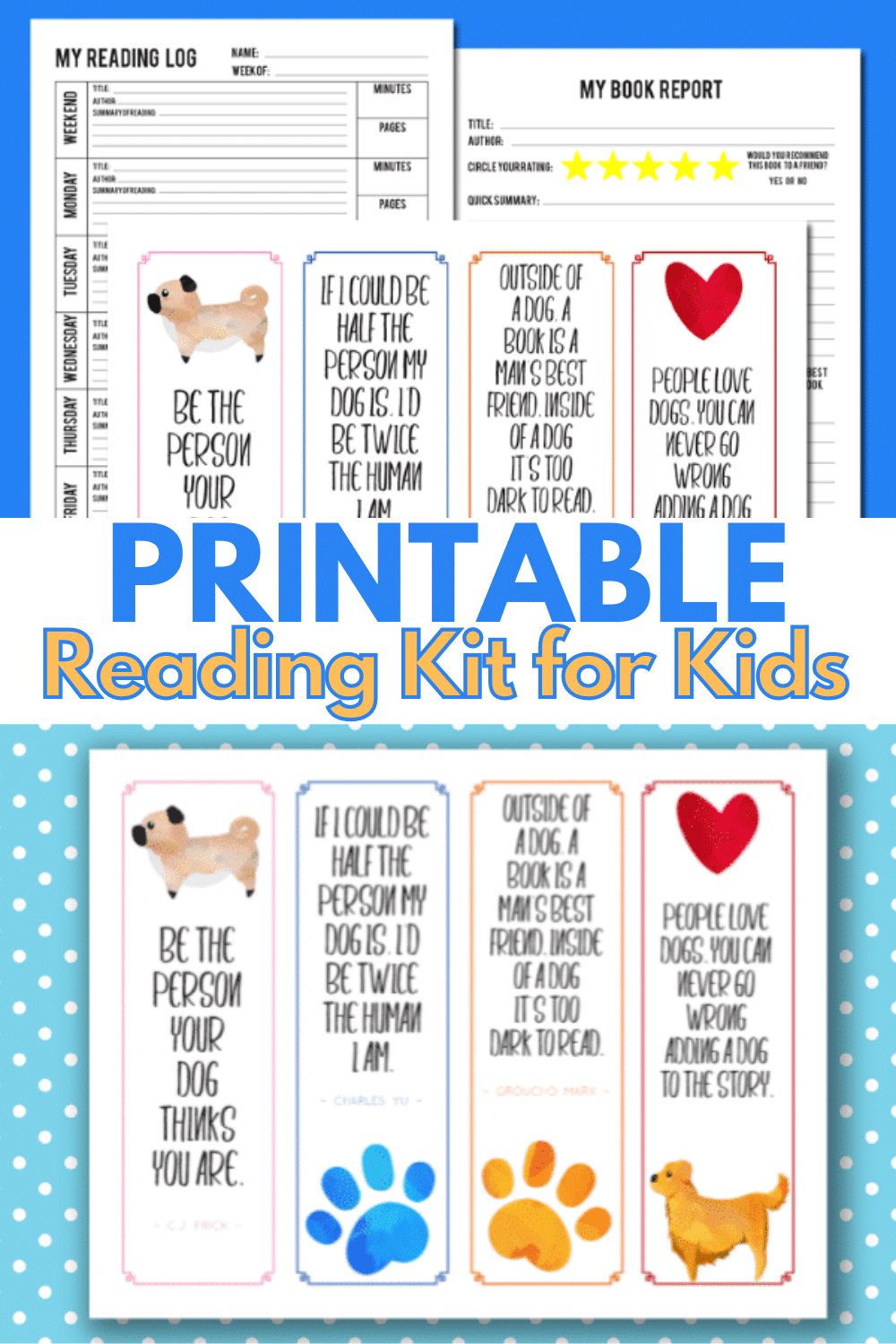 A printable reading kit for kids will help kids stay focused on reading all summer long. A reading log, book report form and bookmarks make this kit great. #printables #reading #education via @wondermomwannab