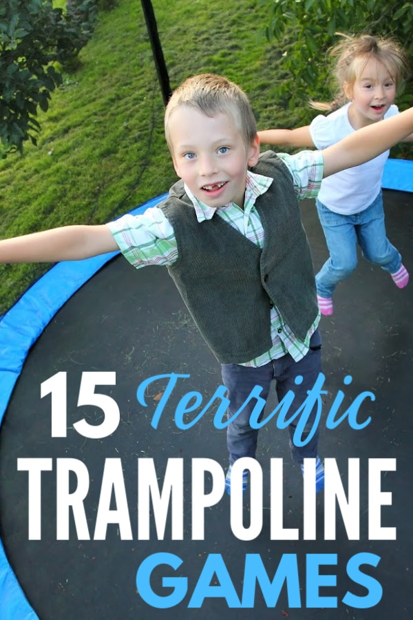 "Brother and sister standing on trampoline with title text ""15 Terrific Trampoline Games"""