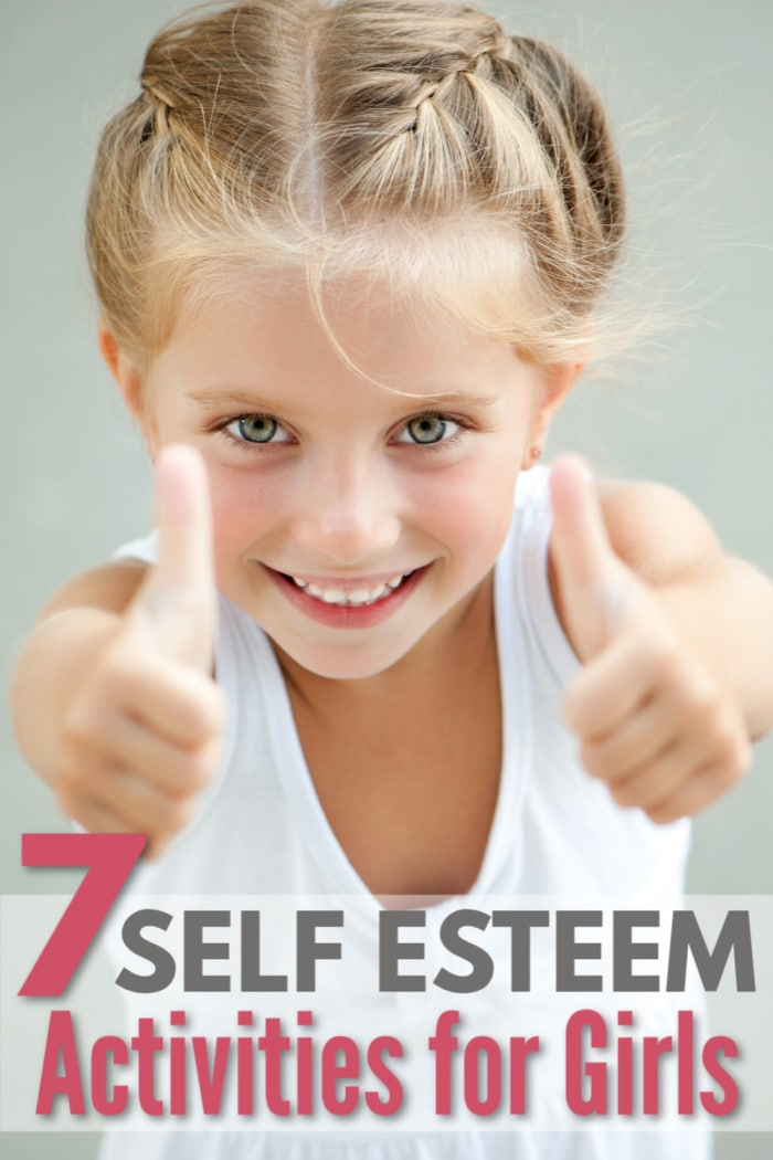a girl with her thumbs up and title text reading 7 Self Esteem Activities for Girls