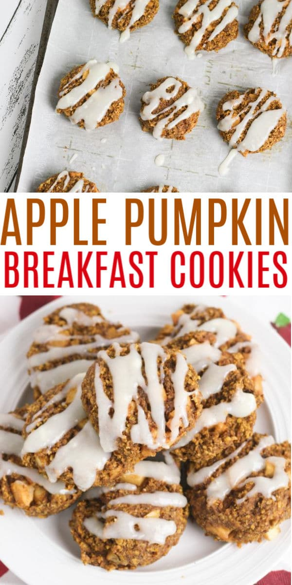Apple Pumpkin Breakfast Cookies are packed full of flavor and nutrition. These are a great way to start your day and they smell amazing too! #breakfast #breakfastcookies #apples via @wondermomwannab