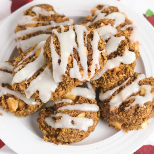 apple pumpkin breakfast cookies on a white plate