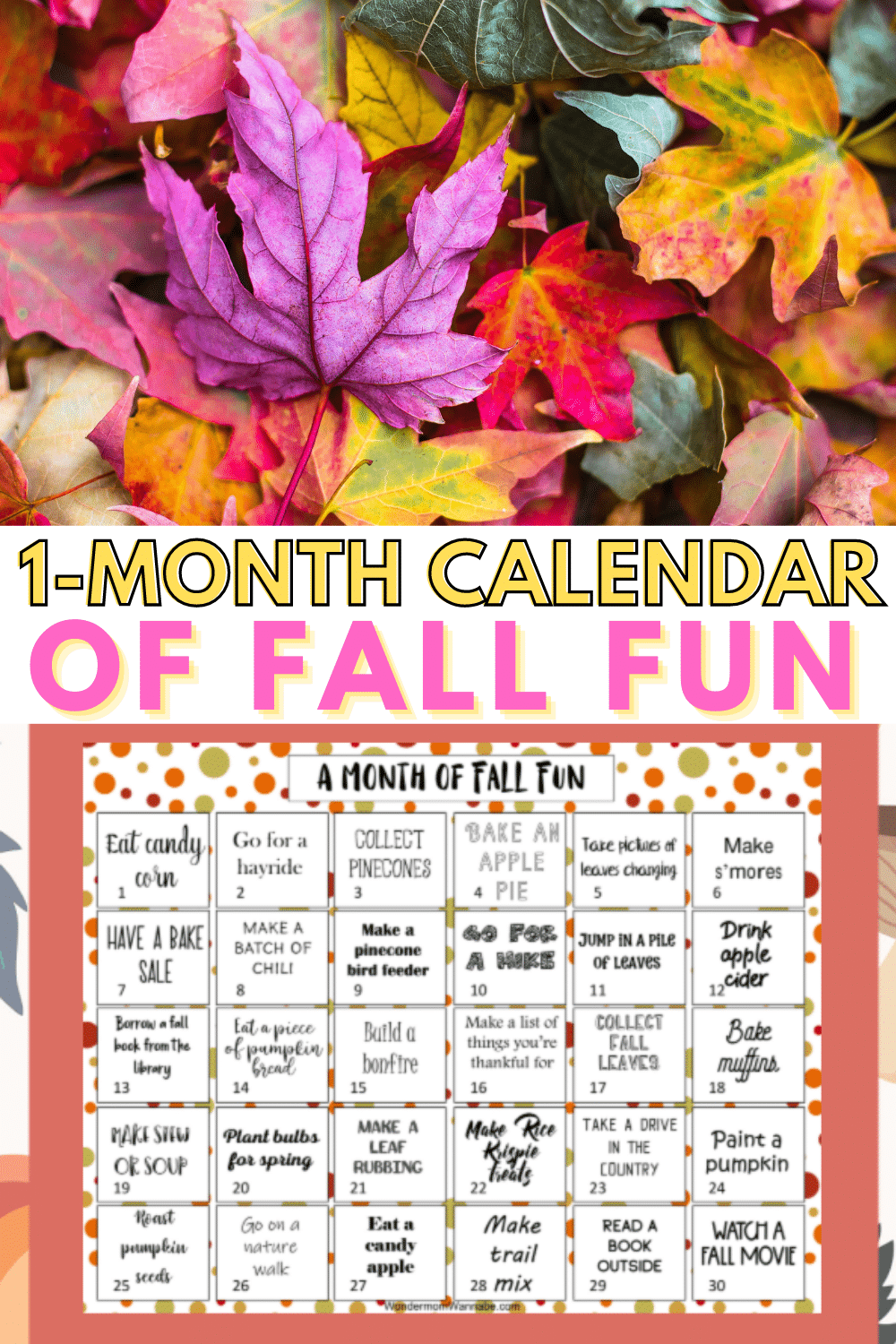 This printable one month calendar of fall activities for kids is the perfect way to have a memorable season full of fun as a family. #printables #fall #kidsactivities via @wondermomwannab