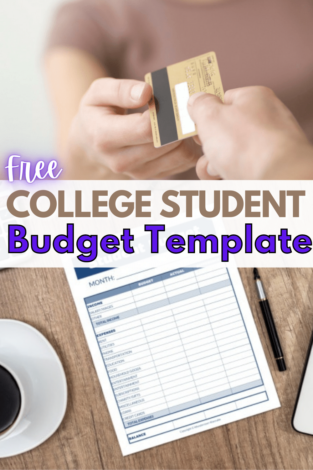 This college student budget template is an easy and effective tool for managing money in college. Plus free printable budget worksheet for college students. #budget #collegestudent #budgetworksheet #printable via @wondermomwannab