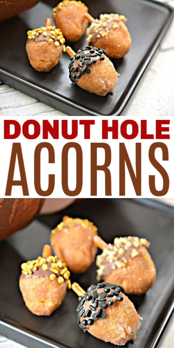 a collage of donut hole acorns with title text reading Donut Hole Acorns
