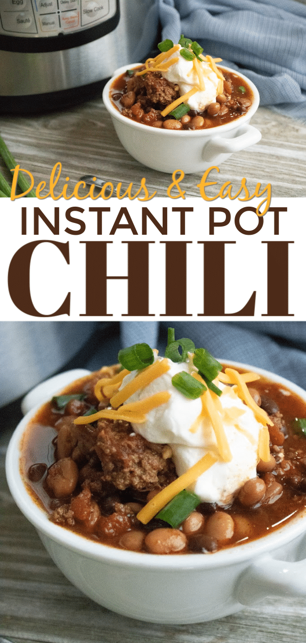This Instant Pot Chili is full of flavor and so easy to make. Perfect for an easy weeknight dinner or when you need to serve a group. #instantpot #pressurecooker #chili #easydinner via @wondermomwannab