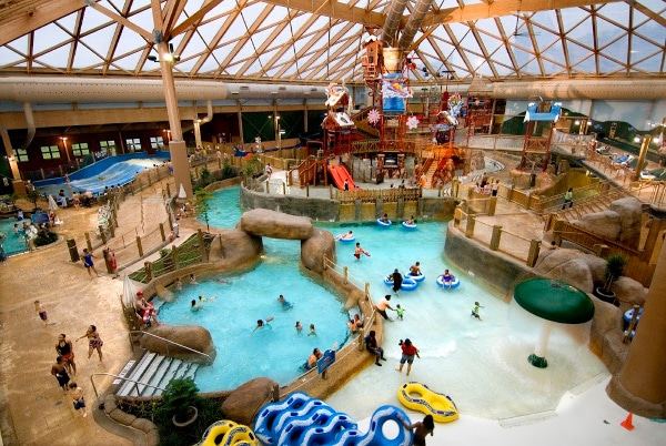 people at an indoor waterpark