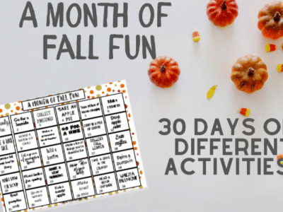 one month calendar of fall activities for kids