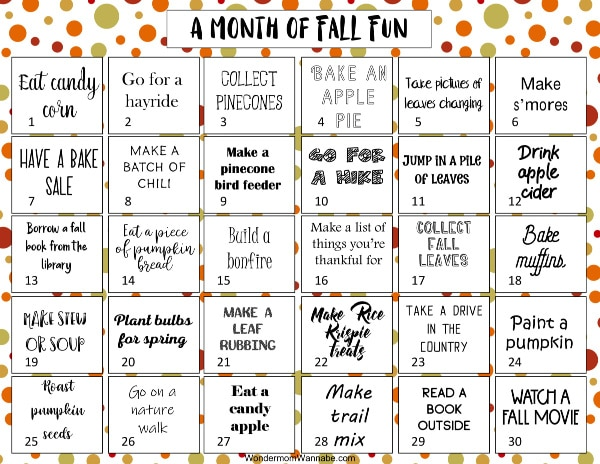 printable one month calendar of fall activities for kids