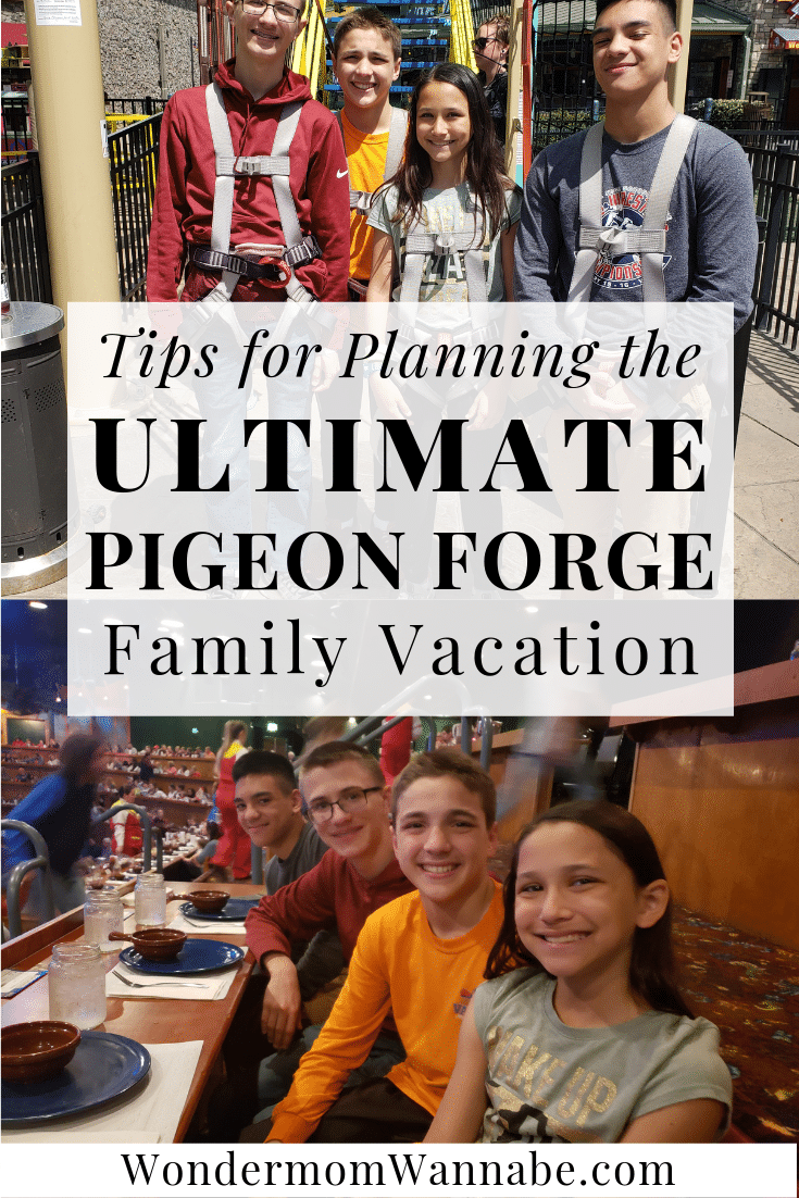 four kids in two different locations with title text reading Tips for Planning the Ultimate Pigeon Forge Family Vacation