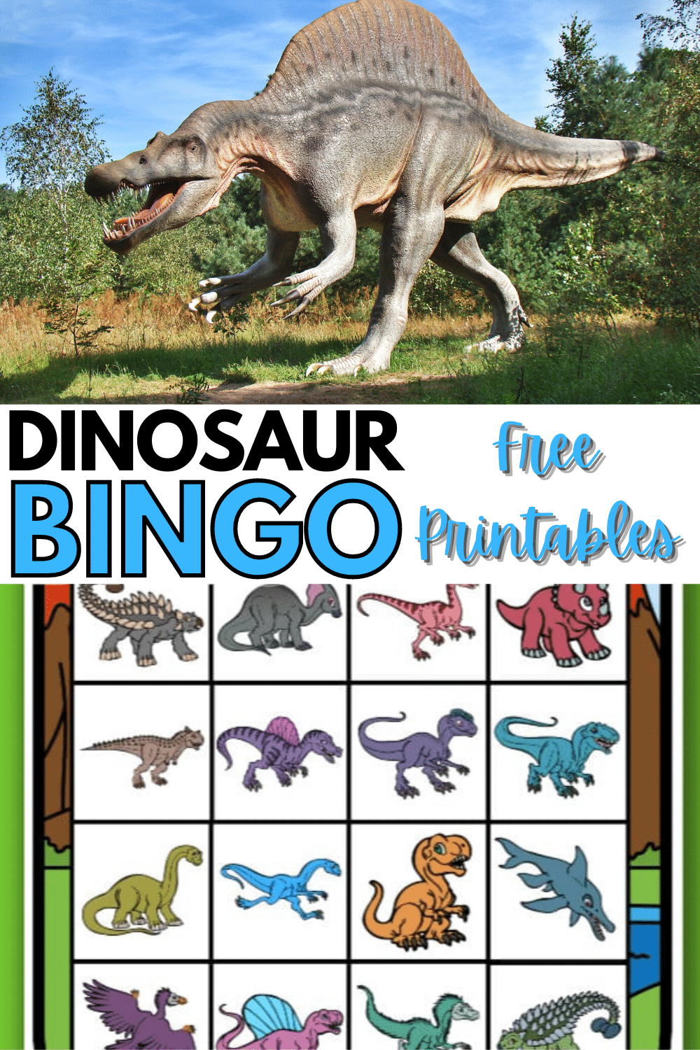 This printable dinosaur bingo game is a perfect kid's activity for a dinosaur themed party. There are six different bingo cards to print off. #bingo #freeprintables #dinosaur via @wondermomwannab