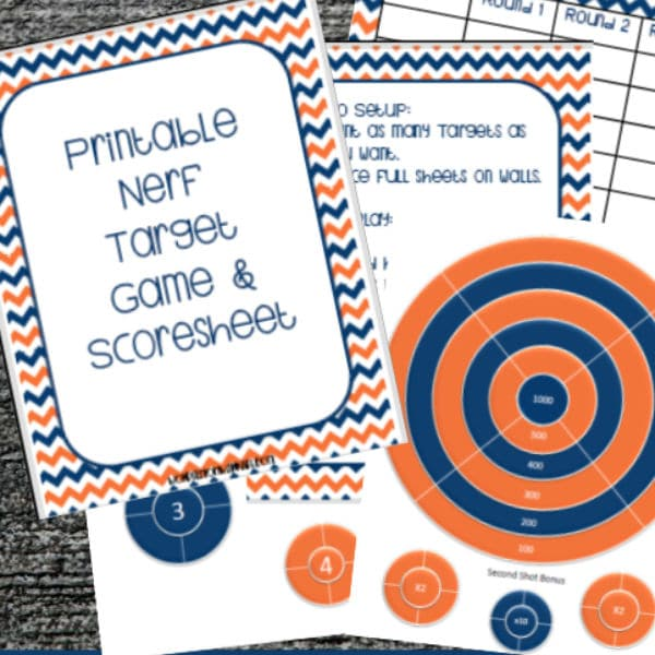 printable nerf targets and a scoresheet