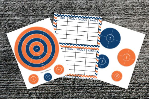 printable nerf targets and a score sheet