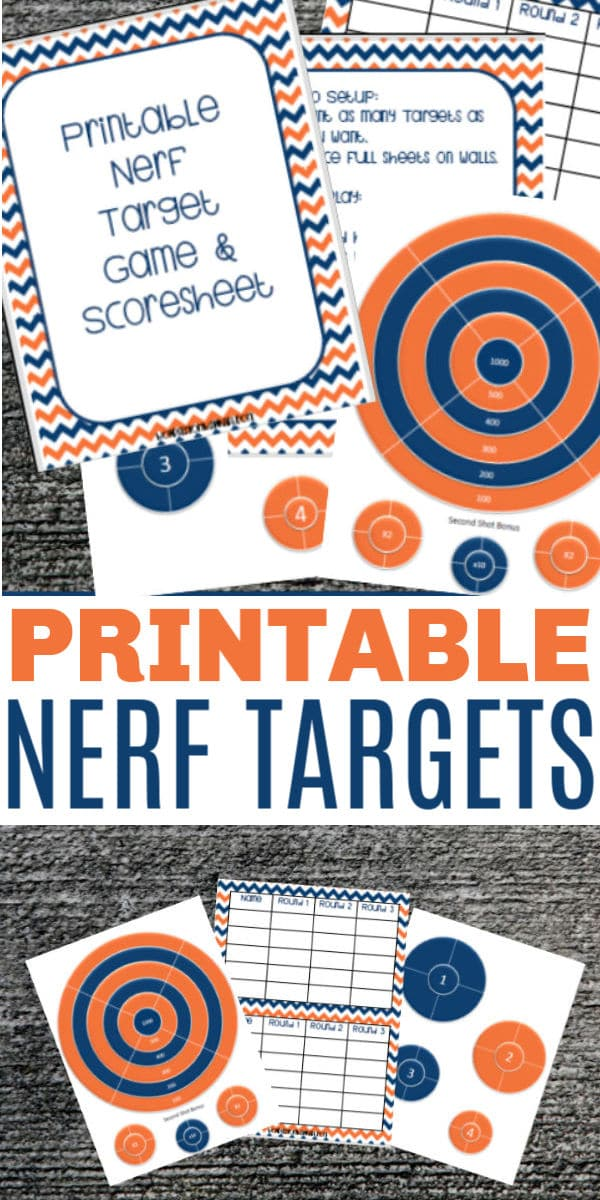 Printable Nerf Targets can make nerf games even more fun. There are several ways to play with these nerf targets and your whole family will have a blast. #printables #nerf #familyfun via @wondermomwannab