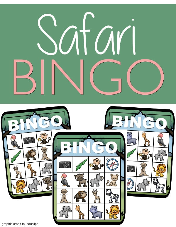 3 images of printable safari bingo with title text reading Safari Bingo on a green background