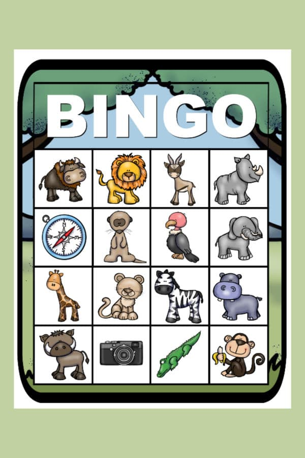 printable safari bingo