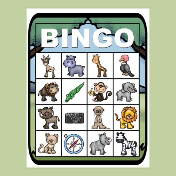 printable safari bingo on a green background