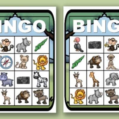 printable safari bingo